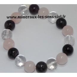 Bracelet Boules 12mm Améthyste - Quartz Rose et Cristal de Roche