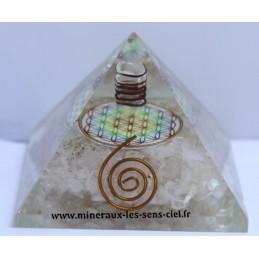 Pyramide en Orgonite - Fleur de vie - Cristal de roche