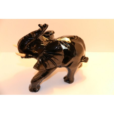 Elephant en Soapstone noire