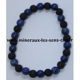 Bracelet Boules 6mm Lapis Lazuli et Pierre de Lave