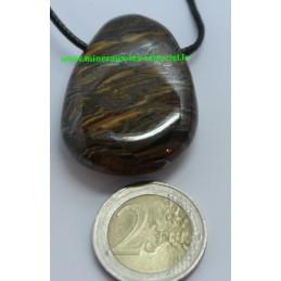 Pendentif Fer de Tigre galet pierre roulée
