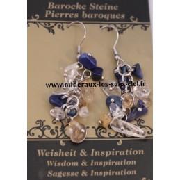 Boucle d'Oreille Baroque Lapis Lazuli - Quartz Rutile - Cristal de Roche