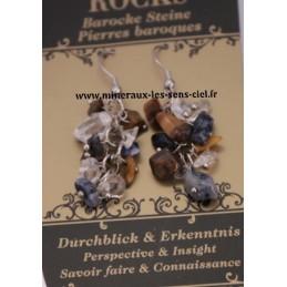 Boucle d'Oreille Baroque Oeil de Tigre - Cristal de Roche et Sodalite
