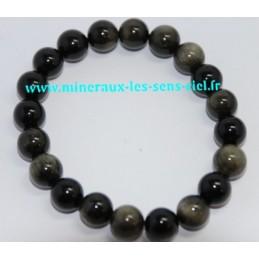 Bracelet Boules 10mn Obsidienne doré