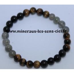 Bracelet Boules 8mm Obsidienne Oeil Céleste -Oeil de Tigre -Labradorite