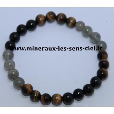 Bracelet Boules 8mn Obsidienne Oeil Céleste -Oeil de Tigre -Labradorite