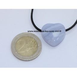Pendentif Coeur Calcédoine Bleue
