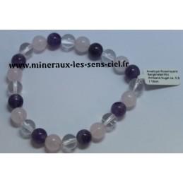 Bracelet Boules 6mm Améthyste - Quartz Rose - Cristal de Roche
