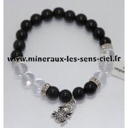 Bracelet Boules 8mm Obsidienne Doré et Cristal de Roche avec Grenouille de la Fortune