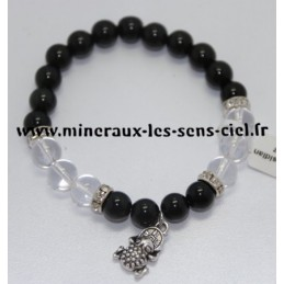Bracelet Boules 8mm Obsidienne Oeil Céleste et Cristal de Roche avec Grenouille de la Fortune