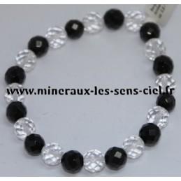 Bracelet Boules 8mm Facetter Cristal de Roche et Tourmaline