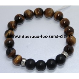 Bracelet Boules 10mn Oeil de Tigre + Onyx