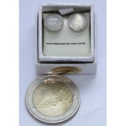 Puce d'Oreille Argent Cabochon 8mm Pierre de Lune