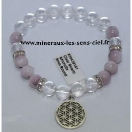 Bracelet Boules 8mm Kunzite + Cristal de Roche + Fleur de vie