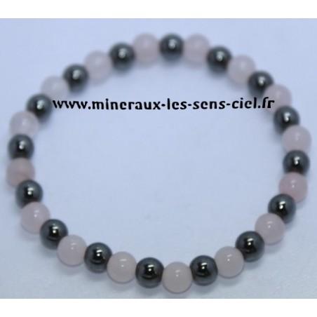 Bracelet Boules 6mm Quartz Rose et Hématite
