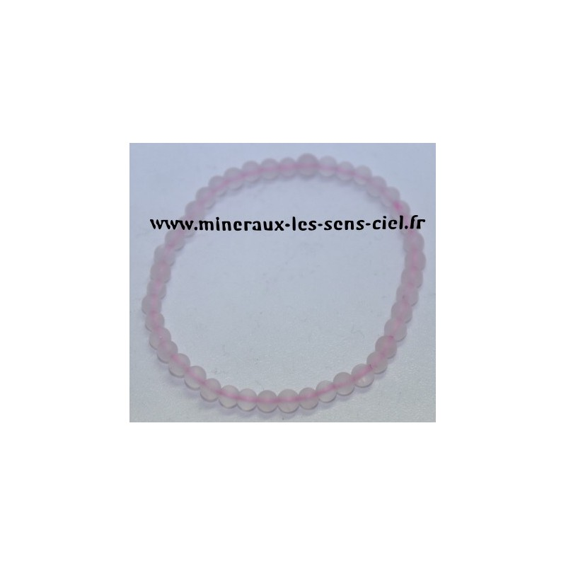 Bracelet Boules 4 mm Quartz Rose Mat
