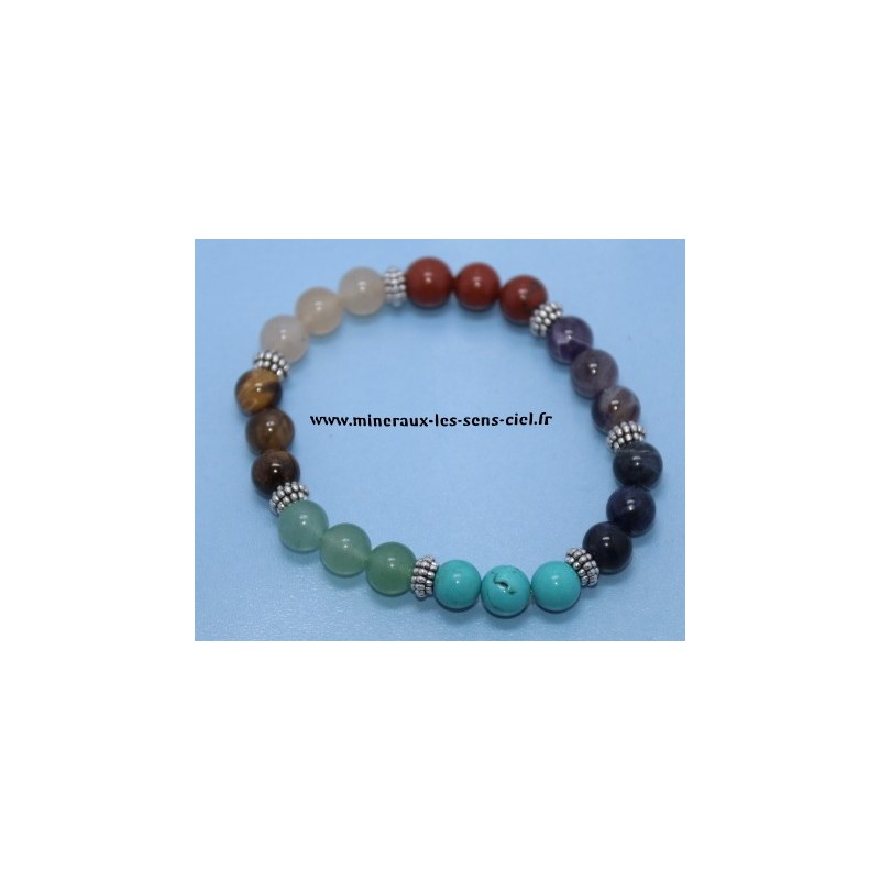 Bracelet Boules 8mm pierres 7 chakras