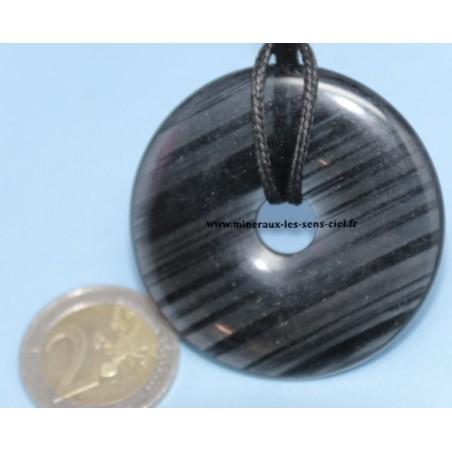 Pendentif Donut Obsidienne Lamellée