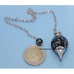 Pendule Sphère Obsidienne Flocons de neige