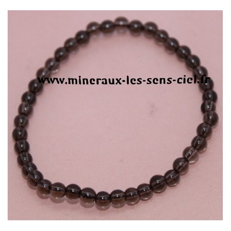 Bracelet Boules 4mm Quartz Fumé