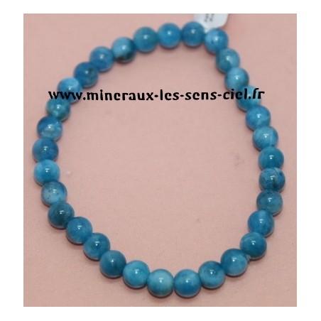 Bracelet Boules 6mm Apatite Bleue