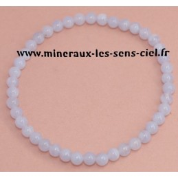 Bracelet Boules 4mn Calcédoine Bleue