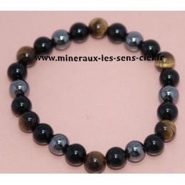 Bracelet Boules 8mm Oeil de Tigre - Hématite - Obsidienne