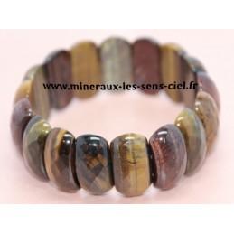 Bracelet Plaquette Ovale 3 Oeils de Taureau - Tigre - Faucon