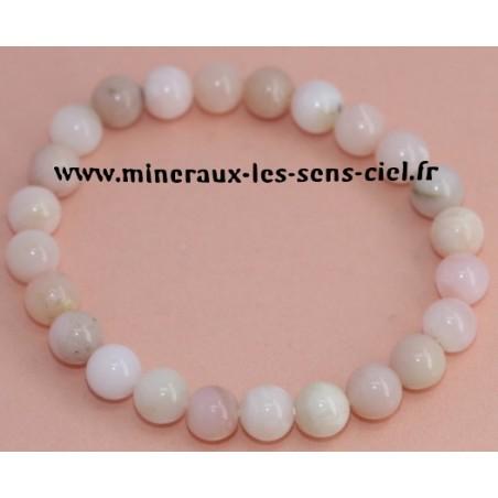 Bracelet Boules 8 mn Opale des Andes Rose