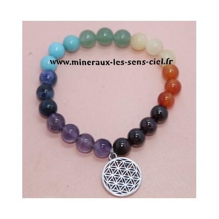 Bracelet Boules 8mn 7 Chakras - Fleur de Vie