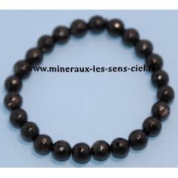 Bracelet Boules Facetté 8mm Mica Noir