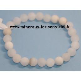 Bracelet Boules 8mm Baryte Blanche