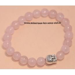 bracelet boules 8mm pierre quartz rose avec bouddha en métal
