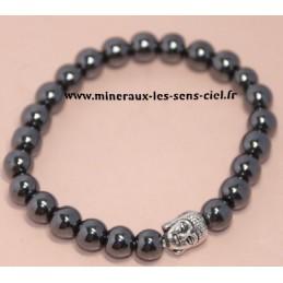 Bracelet Boules 8mm Hématite et Bouddha