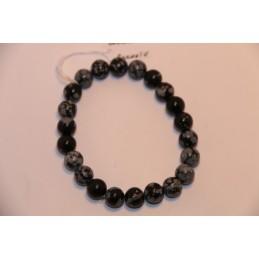 Bracelets Boules 8mm Obsidiennes Flocons de neige