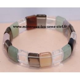 bracelet plaquette pierres assorties multicolores