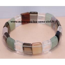 bracelet plaquette pierres assorties multicolores