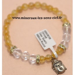 Bracelet Boules 6 et 8mm Citrine et Cristal de Roche et Bouddha