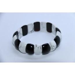 Bracelet Howlite Blanche et Onyx