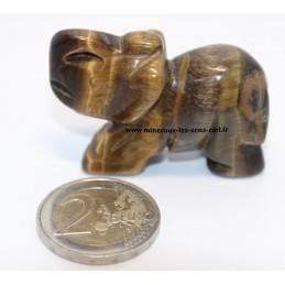 Éléphant en pierre œil de tigre - environ 5cm