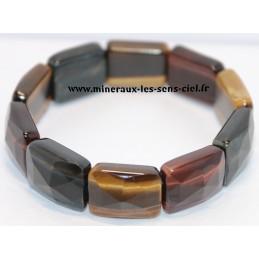 Bracelet plaquettes facetter pierre oeil de Tigre, Faucon et Taureau
