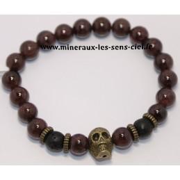 Bracelet Boules 8mm Grenat et pierre de lave et tête de mort