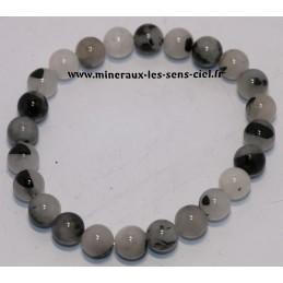 Bracelet Boules 8mm quartz inclusion tourmaline