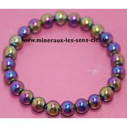 Bracelet boules 8mm Rainbow Hématite chauffée