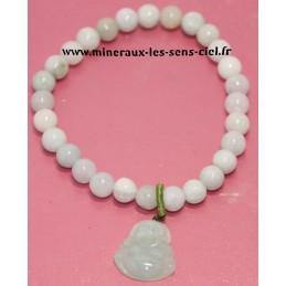 Bracelet boules 6mm pierre de Jade avec bouddha