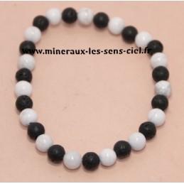Bracelet boules 6mm pierre de lave et magnésite