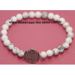 Bracelet boules 6mm pierre magnésite ou howlite avec fleur de vie