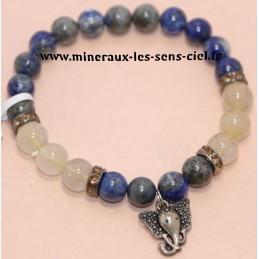 Bracelet Boules 8mm Lapis Lazuli / Quartz Rutile