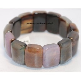 Bracelet plaquette large pierre Agate assorties