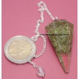 Pendule Cône en orgonite avec pierre Péridot